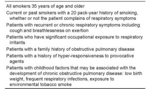 Table 2. Target populations for spirometry screening
